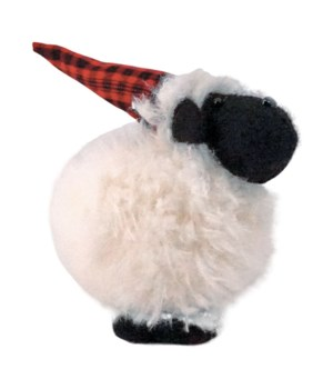 Lg Furry Sheep w/Santa Hat