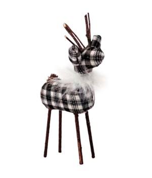 Sm Black/White Plaid Reindeer