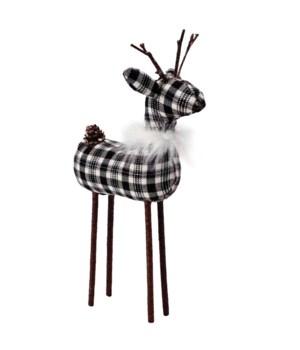 Med Black/White Plaid Reindeer