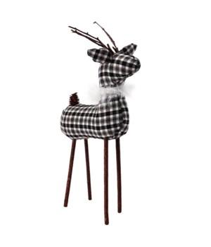 Lg Black/White Plaid Reindeer