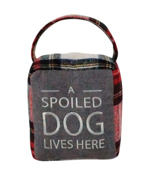 Red/Grey Plaid SPOILED DOG Doorstop