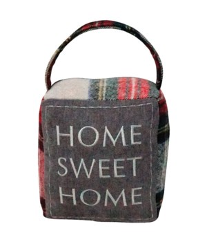 Red/Grey Plaid HOME SWEET HOME Doorstop