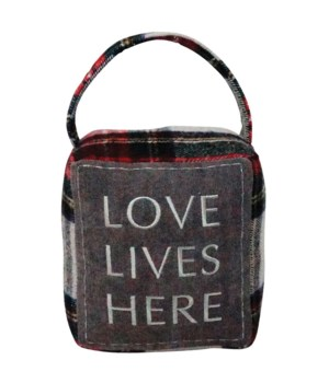 Red/Grey Plaid LOVE LIVES HERE Doorstop