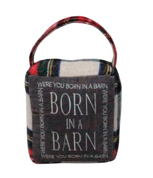 Red/Grey Plaid BORN IN A BARN Doorstop