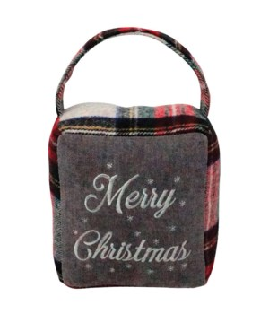 Red/Grey Plaid MERRY CHRISTMAS Doorstop
