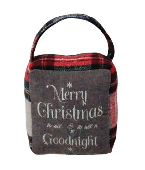 Red/Grey Plaid MERRY CHRISTMAS/GOODNIGHT Doorstop