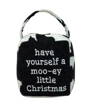 Cow Print MOO-EY CHRISTMAS Doorstop