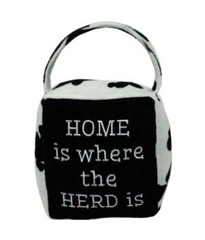 Cow Print HOME/HERD Doorstop