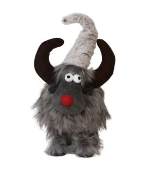 Lg Plush Furry Grey Wobble Moose