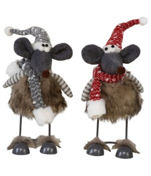 2 Asst Plush Furry Wobble Mouse w/Red/Grey Hat