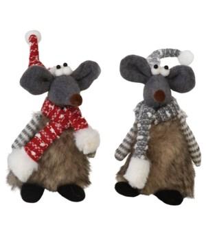 2 Asstd Plush Furry Mouse w/Red/Grey Hat