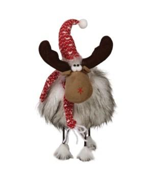 Sm Plush Furry Wobble Moose w/Red Hat