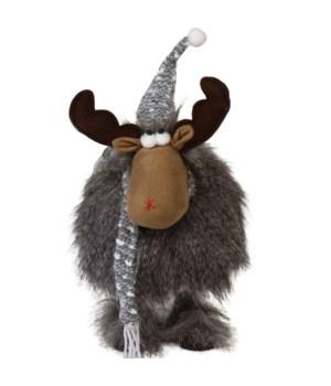Lg Plush Furry Wobble Moose w/Red Hat