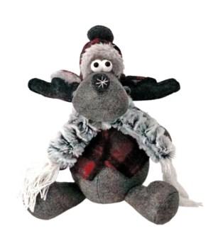 Sm Sitting Plush Red/Grey Moose