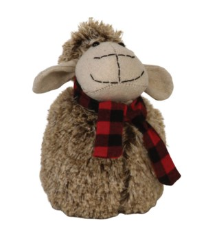 Lg Plush Furry Sheep w/Red/Black Plaid Scarf