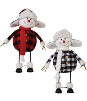 2 Asstd Plush Plaid Wobble Snowman
