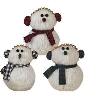 3 Asst Sm Plush Knit Snowman w/Plaid Earmuffs