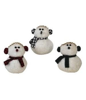 3 Asst Lg Plush Knit Snowman w/Plaid Earmuffs