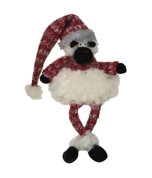 Dangle Leg Plush Fluffy Sheep w/Red Knit Hat