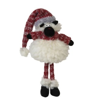 Standing Plush Fluffy Sheep w/Red Knit Hat