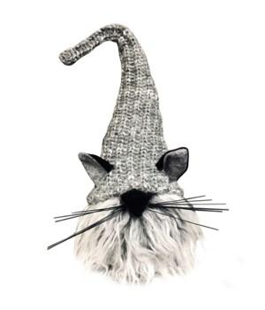 Plush Grey Fur Cat Gnome