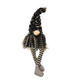 Small Dangle Leg Santa Gnome with Black & Silver Hat