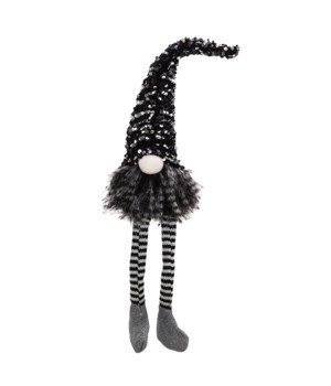 Medium Dangle Leg Santa Gnome with Black &Silver Hat