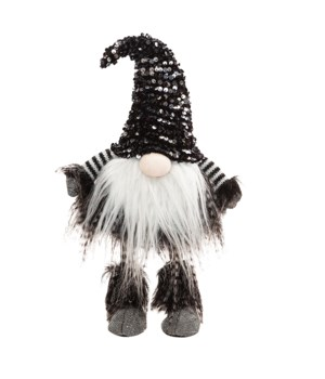 Wobble Santa Gnome with Black & Silver Hat