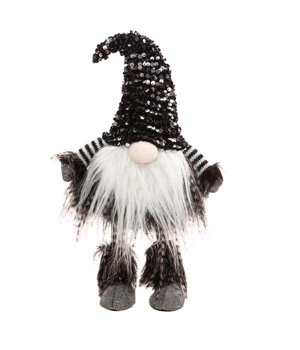 Wobble Santa Gnome with Black & Silver Hat