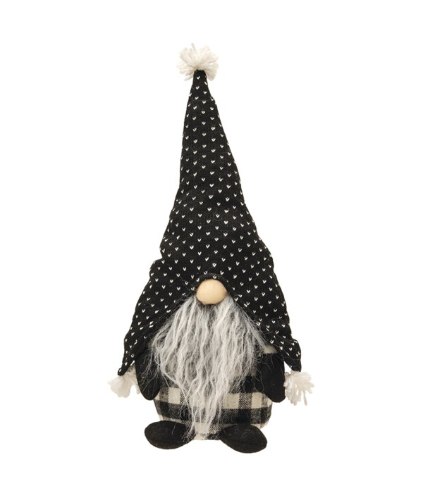Large Standing Gray Beard Gnome with Spotted Hat