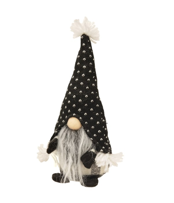 Small Standing Gray Beard Gnome with Spotted Hat