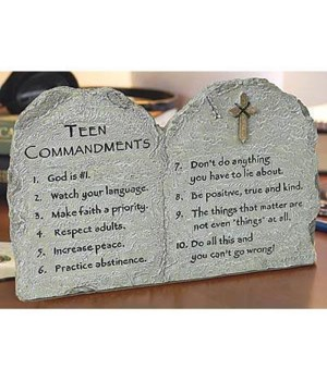 TEEN COMMANDMENTS PLAQUE HANGS OR STANDS W/EASEL BOXED