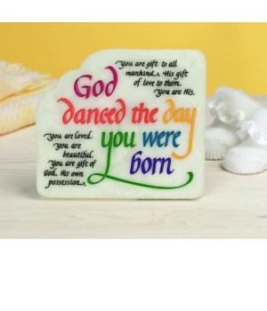 GOD DANCED MDF PLAQUE W/EASEL BACK & HANGER BOXED