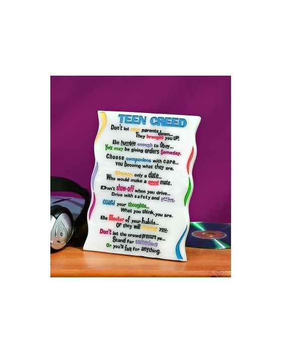 TEEN CREED MDF PLAQUE W/EASEL & HANGER BOXED