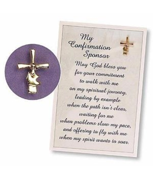 GOLD CONFIRM SPONSR CROSS/DOVE PIN CARDED INDIVIDUALLY BAG