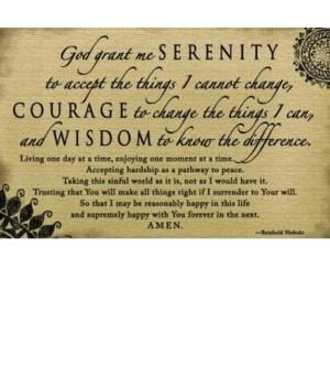 SERENITY PRAYER BLACK WOOD KEEPSAKE BOX W/CARD