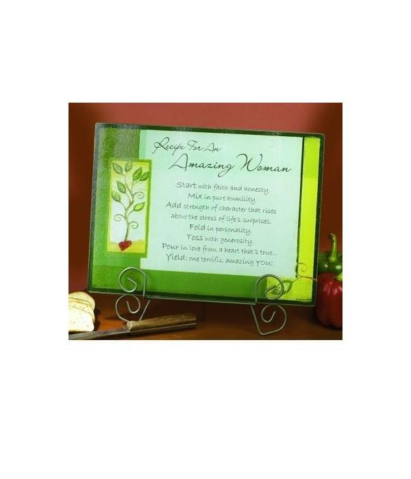 AMAZING WOMAN GREEN CUTTING BOARD W/CARD