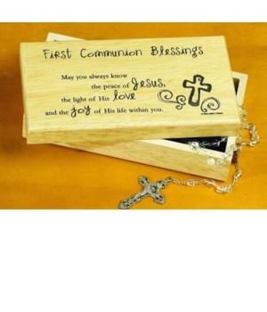 1ST COMMUNION BLESSINGS WOOD KEEPSAKE BOX