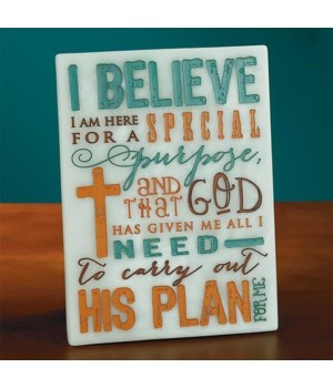I BELIEVE PLAQUE W/EASEL BACK BOXED