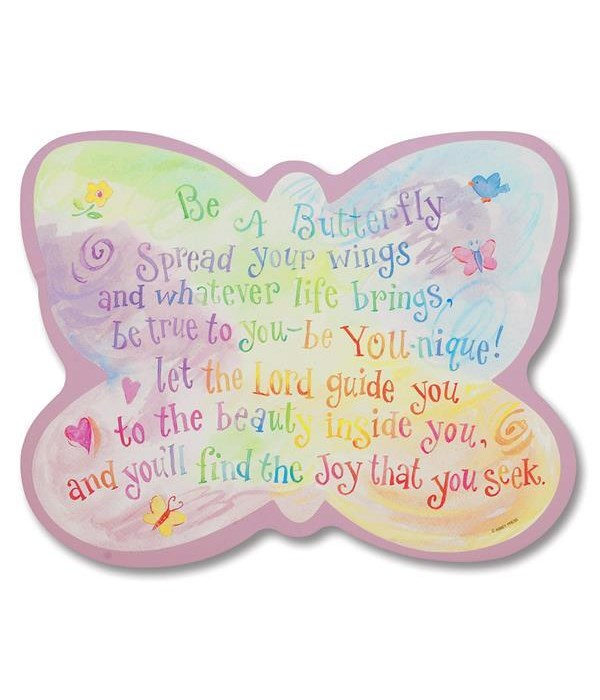 BE A BUTTERFLY WALL PLAQUE INDIVIDUALLY BAGGED