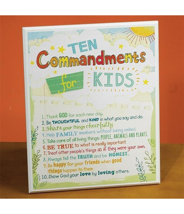 10 COMMANDMENTS KIDS PLAQUE W/EASEL BACK INDIVIDUALLY BAG
