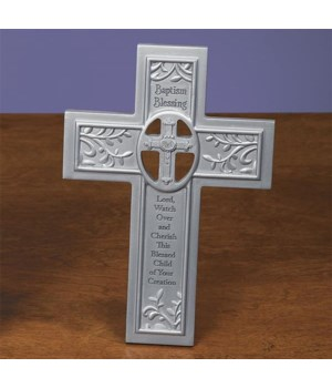 SILVER BAPTISM BLESSING CROSS W/EASEL BOXED