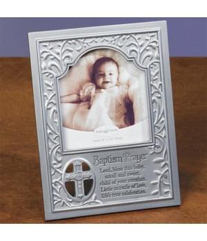 SILVER BAPTISM PRAYER FRAME W/EASEL BACK BOXED