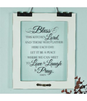 BLESS THIS KITCHEN WINDOW PANE HANGING PLAQUE BOXED