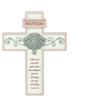 8 1/8 in.   PINK BAPTISM CROSS W/ EASEL BACK BOXED