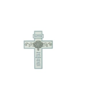 8 1/8 in.   BLUE BAPTISM CROSS W/ EASEL BACK BOXED