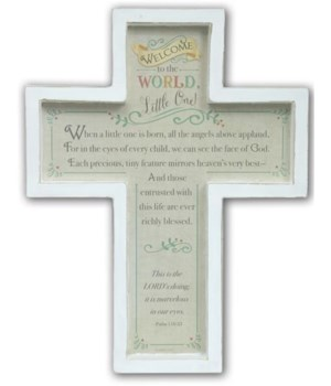 WELCOME TO WORLD BABY CROSS W/HANGER BOXED