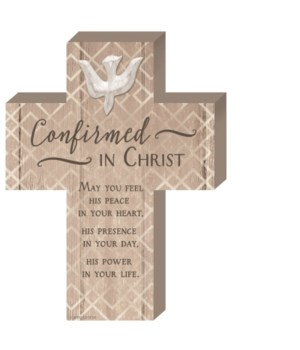 CONFIRMATION WOOD CROSS W/ EASEL & HANGER BOXED