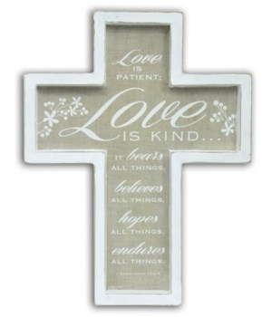 LOVE IS PATIENT FRAMED CROSS W/HANGER BOXED