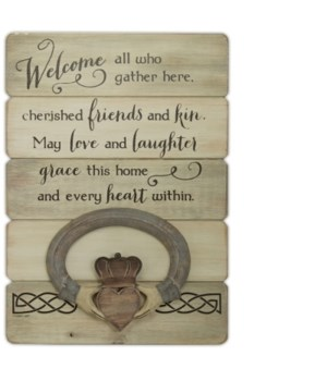 IRISH WELCOME PLANK WALL PLAQ W/CLADDAGH INDIVIDUALLY BAGGED